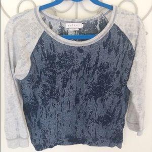 Velvet Tops - Velvet Brand Navy Raglan Burnout Sweatshirt