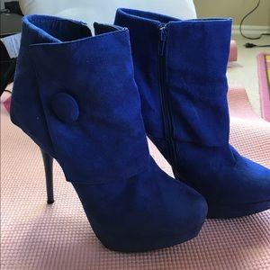 Wild Diva Blue Boot Heels