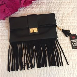 Suede fringe clutch!