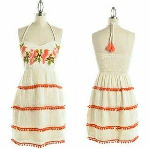 Judith March Dresses & Skirts - Embroidered  Pom Pom Dress