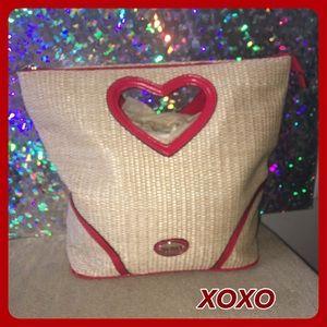XOXO Handbags - NWOT Lg Straw Like Heart Shaped Handle Zip Handbag