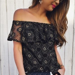 NWOT off he shoulder gold black lace top