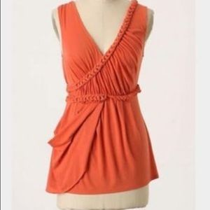 Anthropologie Orange braided asymmetrical top