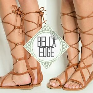 Bella Edge Shoes - ATHENA Whiskey strappy stud gladiator sandals