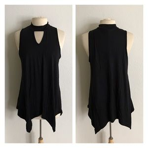 Tops - (Plus) Choker collar tunic