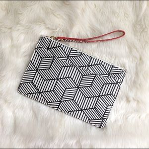 Nordstrom Handbags - Black and White Chevron Printed Wristlet Geometric