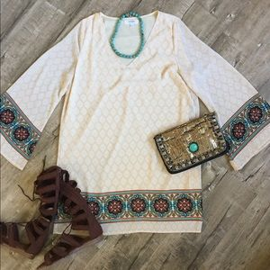 Umgee A line Damsk border print cream Dress EUC