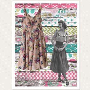 Lauren Conrad Blush Pink Floral Skater Dress