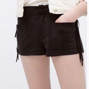 Zara suede black fringe shorts