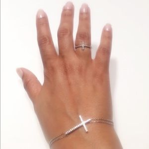 🆕925 Sterling Silver Bracelet and Ring Set