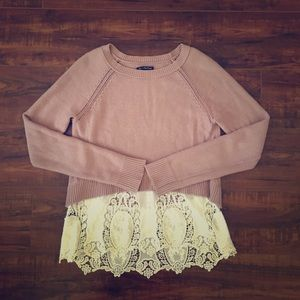 American Eagle Lace bottom Sweater