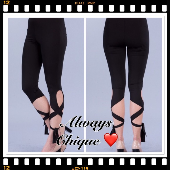 Cropped Legging Yoga Pants W Side Ankle Wrap Tie From