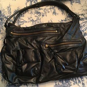 Black Hobo Leather Handbag