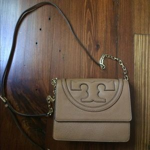 "Tory Burch ""All-T"" Leather Crossbody Bag in Bark"