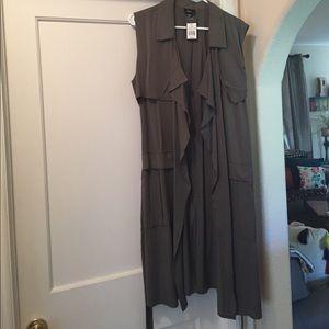NWT! NBW! Olive Green Long Vest