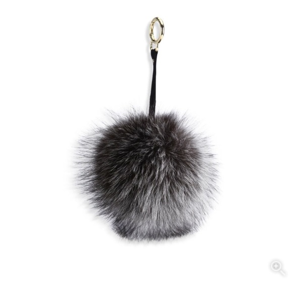 acd238501c6 Adrienne Landau Fox Fur Pom Pom Keychain Bag Charm