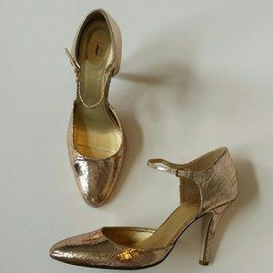 J. Crew Metallic Crackle Mary Jane Heels Shoes