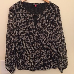 Vince Camuto Black Print Crossover Blouse