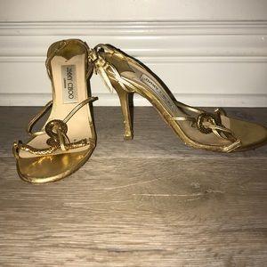 Jimmy Choo gold slingback heels