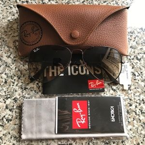 Ray-Ban Accessories - Ray-Ban Aviator Gunmetal/Gradient Brown 55mm