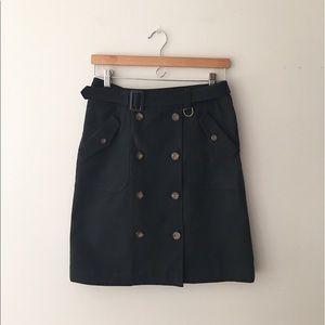J. McLaughlin Black Cotton Twill Pencil Skirt