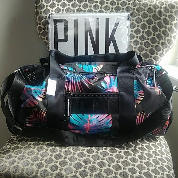 Victoria s Secret Bags   New Pink Duffle Gym Travel Bag Midnight ... c85b5176ef