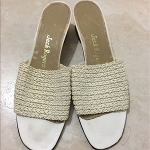 Jack Rogers Shoes - Vintage Jack Rogers White Woven Mules