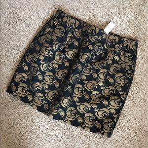Loft Brocade Rose Print Skirt