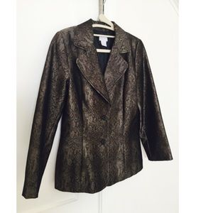 H&M Reptile Print Drk Grey Tapered Sleek Blazer 10