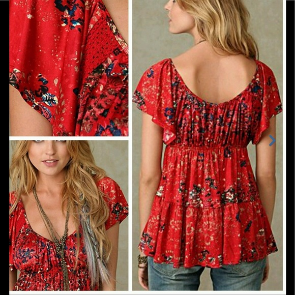 Free People Tops - Free People Sun Kissed Floral Baby Doll Top