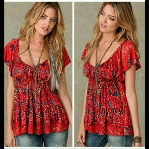 Free People Sun Kissed Floral Baby Doll Top