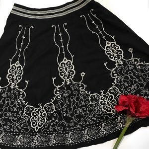 Coldwater Creek Embroidered A-line Skirt