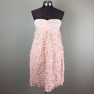 J.Crew | Pink Ruffle Strapless Dress