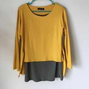 Tops - SOLD* Yellow and grey long sleeve top