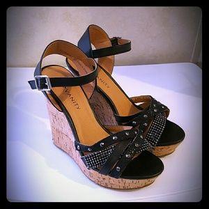 Vanity Shoes - Black Heels Cork Wedge Rhinestone Strappy Platform