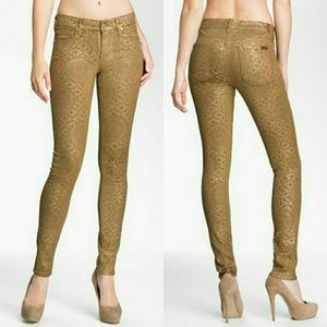 Gold Printed Coated 7 for All Mankind Skinny Jeans