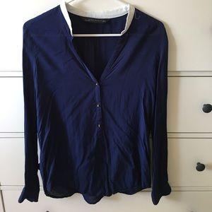 ZARA blue blouse w/white collar & gold buttons