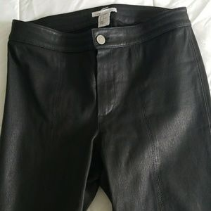 Pants - H & M 100% leather 6 pants with zippers