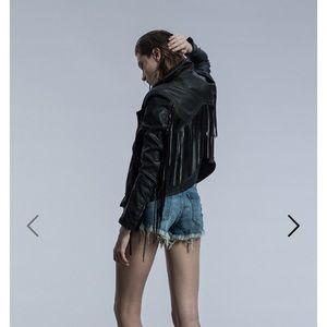 Blank NYC Jackets & Blazers - NWT Black fringe moto jacket with alterations