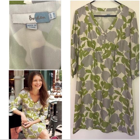 Boden Dresses Uk Floral Leaves Easygoing Silk Dress Poshmark