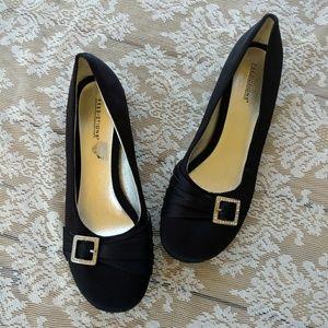 Predictions Shoes - Black Rhinestone Buckle Flats