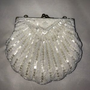 La Regale Handbags - Vintage purse white pearls embellished satin lined