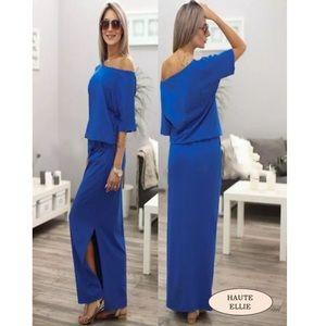 Haute Ellie Dresses & Skirts - Royal Side Split Cold Shoulder Maxi Dress
