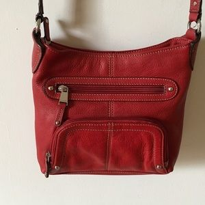 Tignanello Handbags - Lovely red leather Tignanello shoulder bag