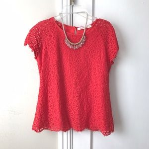 solitaire Tops - Red Lace Scalloped Top