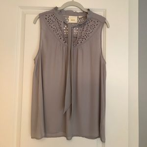 Anthropologie's Maeve laser cut top. Size 14. Gray