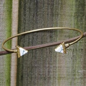 Farah Jewelry Jewelry - Triangle Natural Stone Gold Cuff and/or Bracelet