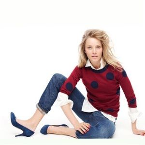 J. Crew Sweaters - J.C r e w • P o l k a D o t • S w e a t e r • Sz S