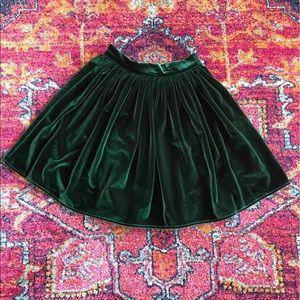 American Apparel dark green velvet mini skirt