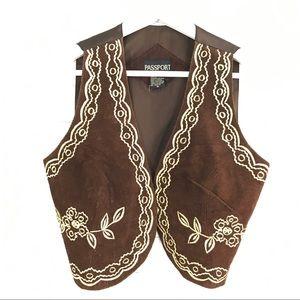 Passport Jackets & Blazers - Vintage Embroidered Boho mini vest size M